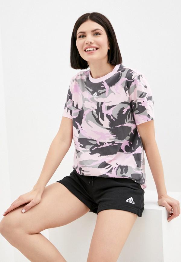женская спортивные футболка adidas, разноцветная