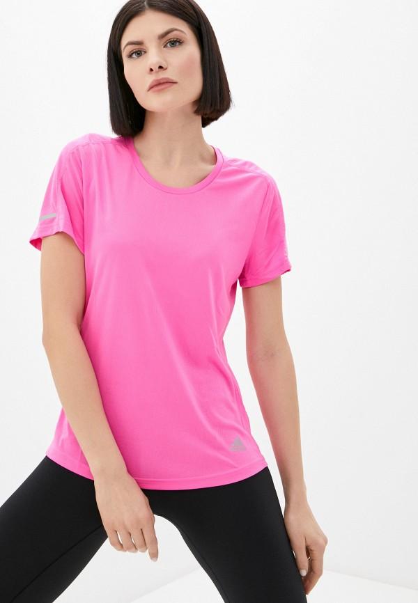 женская спортивные футболка adidas, розовая