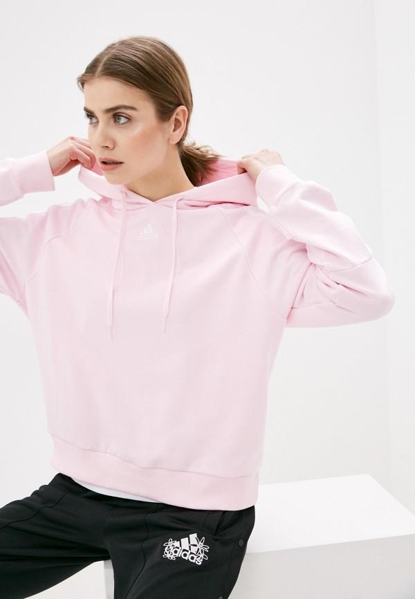 женские худи adidas, розовые