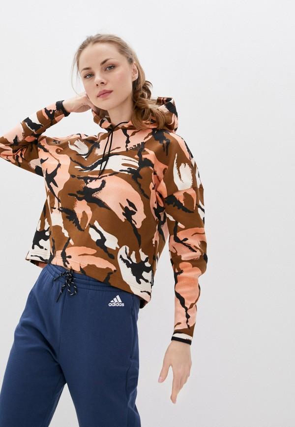 женские худи adidas, коричневые
