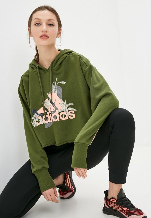 женские худи adidas, зеленые