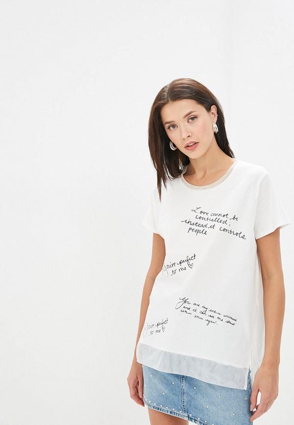 женская футболка adl, белая