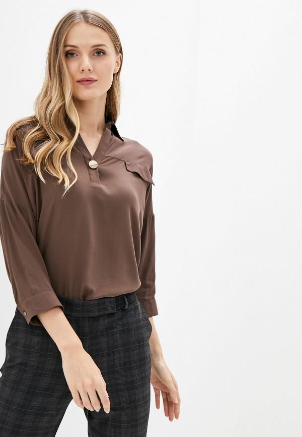 женская блузка с длинным рукавом adl, коричневая