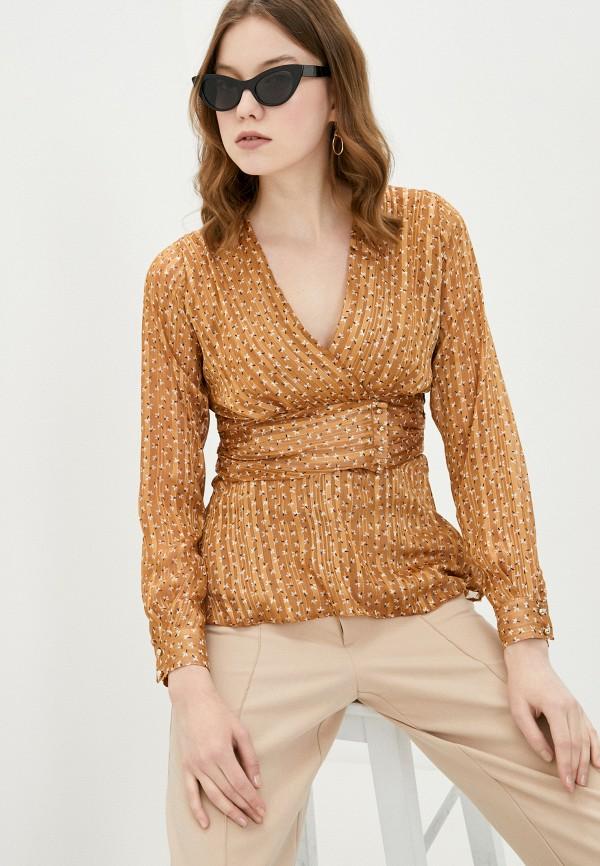 женская блузка adl, коричневая