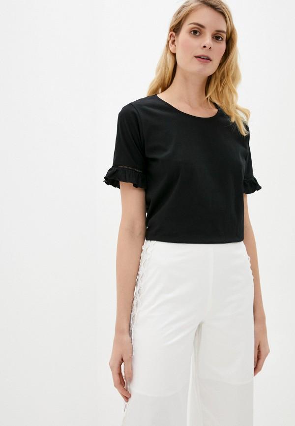 женская футболка adl, черная