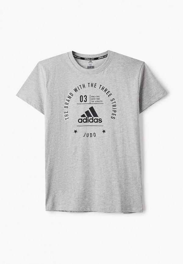 женская футболка с коротким рукавом adidas, серая