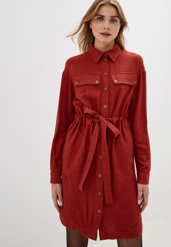 женское повседневные платье adzhedo, коричневое