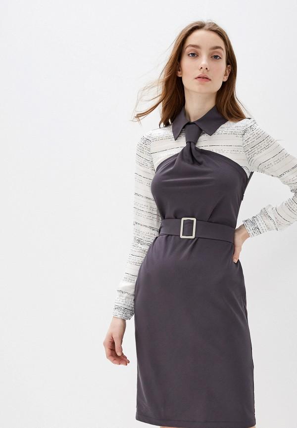 женское повседневные платье adzhedo, серое