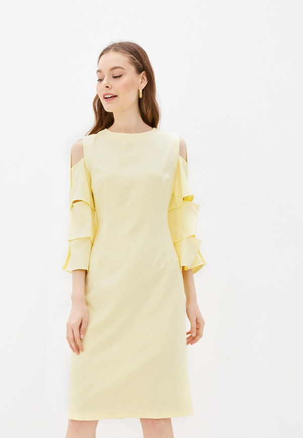 женское платье-футляр adzhedo, желтое