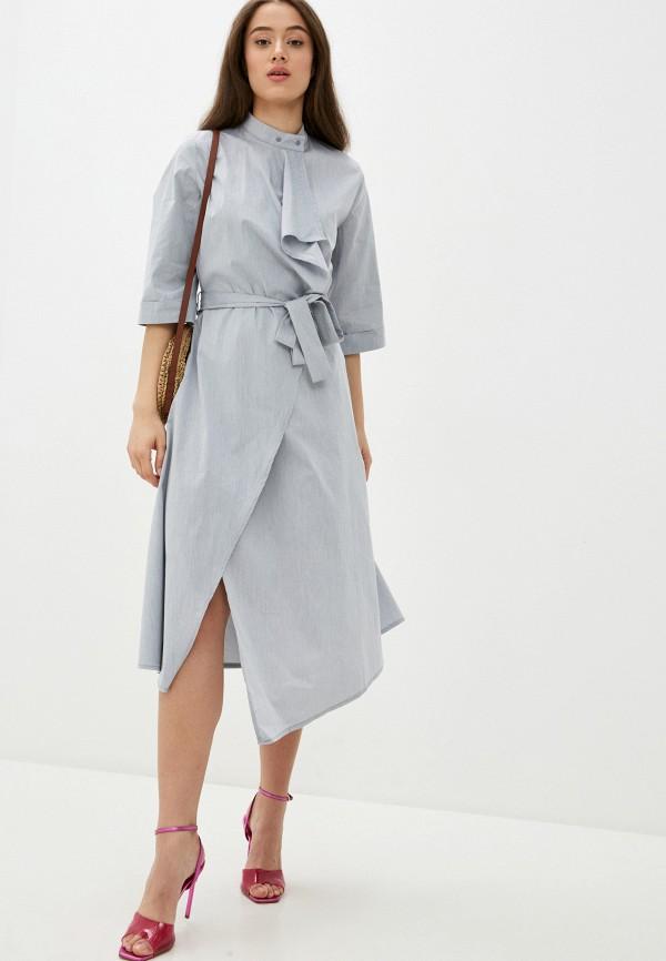 женское платье с запахом adzhedo, серое