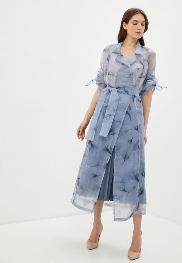 женское повседневные платье adzhedo, голубое