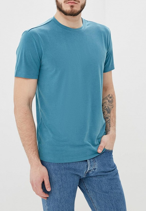 мужская футболка с коротким рукавом adolfo dominguez, бирюзовая