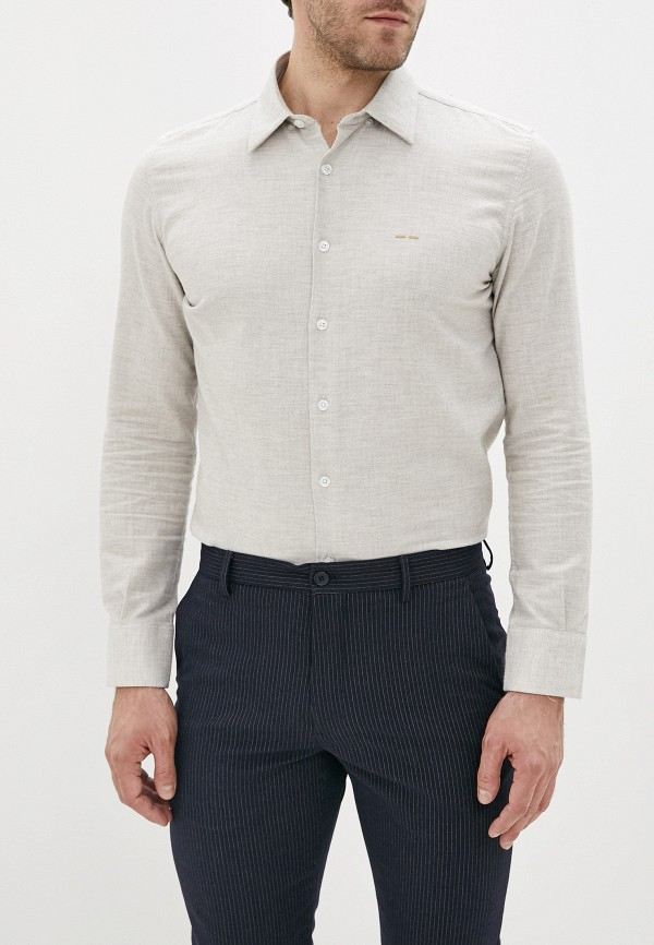 мужская рубашка с длинным рукавом adolfo dominguez, бежевая