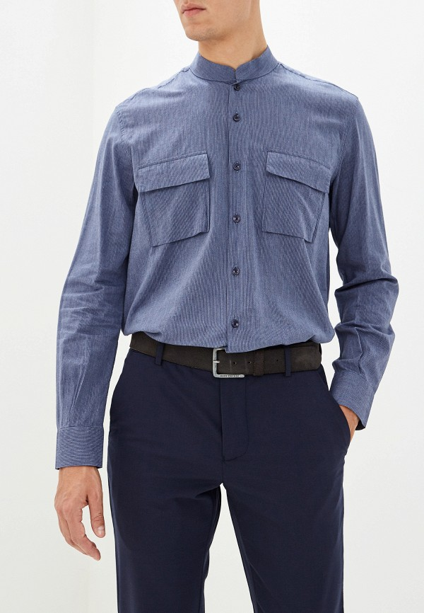мужская рубашка с длинным рукавом adolfo dominguez, синяя
