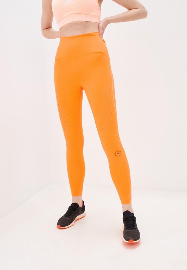 женские спортивные леггинсы adidas by stella mccartney, оранжевые