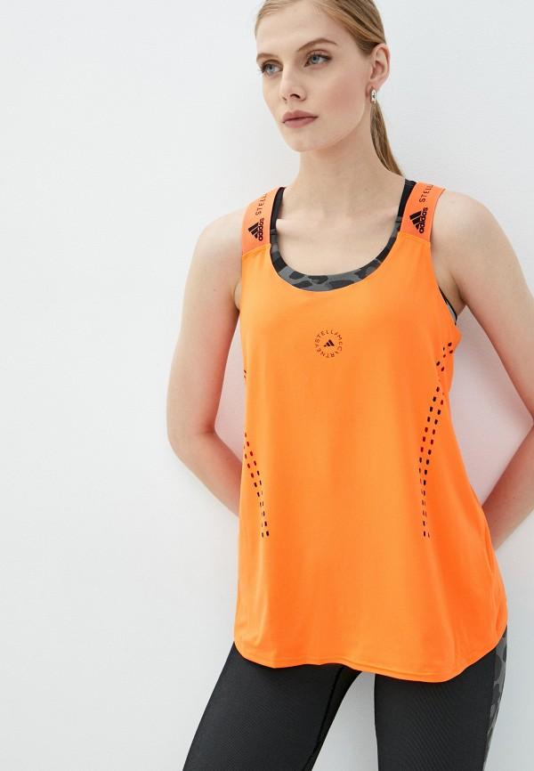 женская спортивные майка adidas by stella mccartney, оранжевая