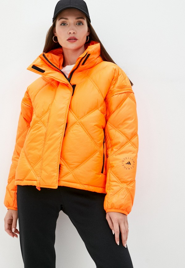женская куртка adidas by stella mccartney, оранжевая