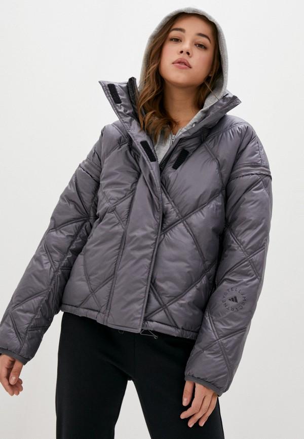 женская куртка adidas by stella mccartney, серебряная