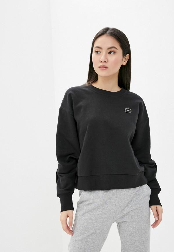 женский свитшот adidas by stella mccartney, черный