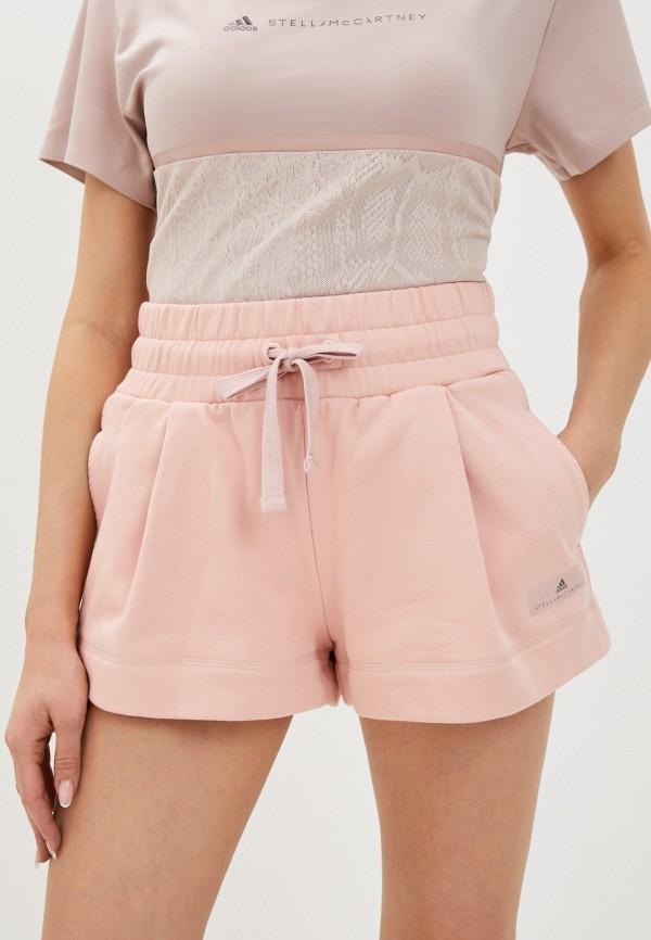женские спортивные шорты adidas by stella mccartney, розовые