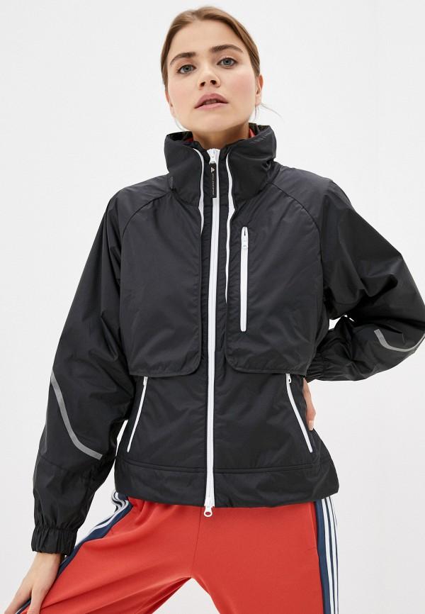 женская спортивные куртка adidas by stella mccartney, черная