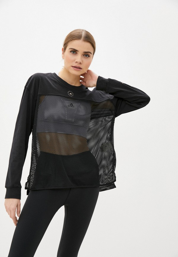 женский лонгслив adidas by stella mccartney, черный