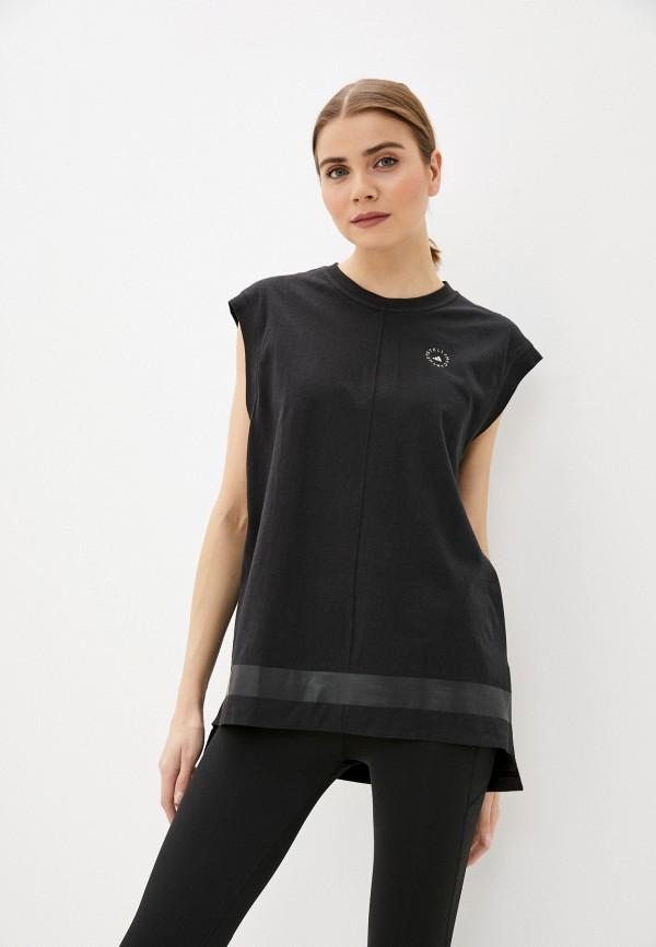 женская спортивные майка adidas by stella mccartney, черная