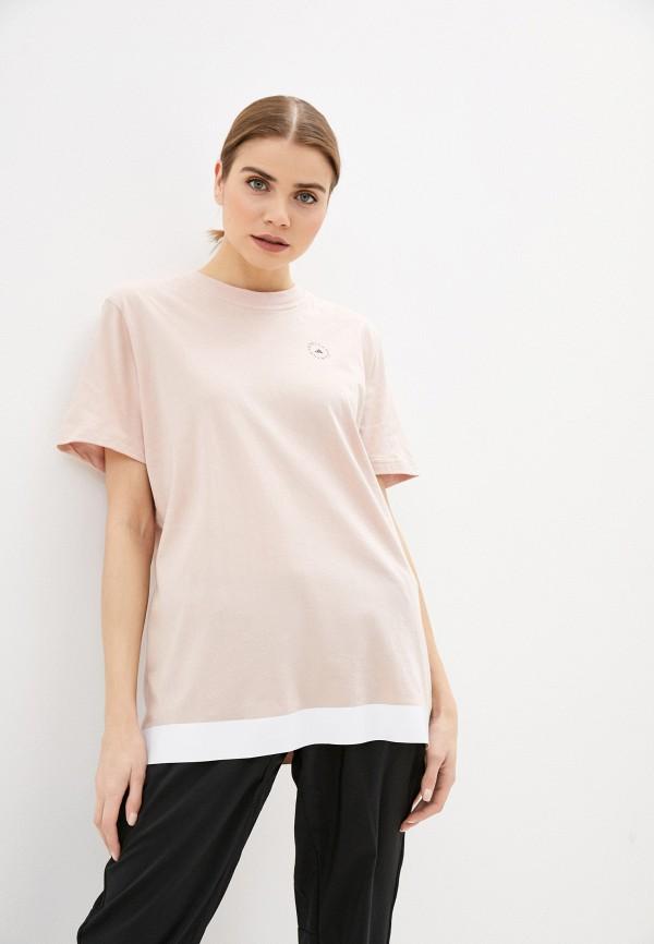 женская спортивные футболка adidas by stella mccartney, розовая