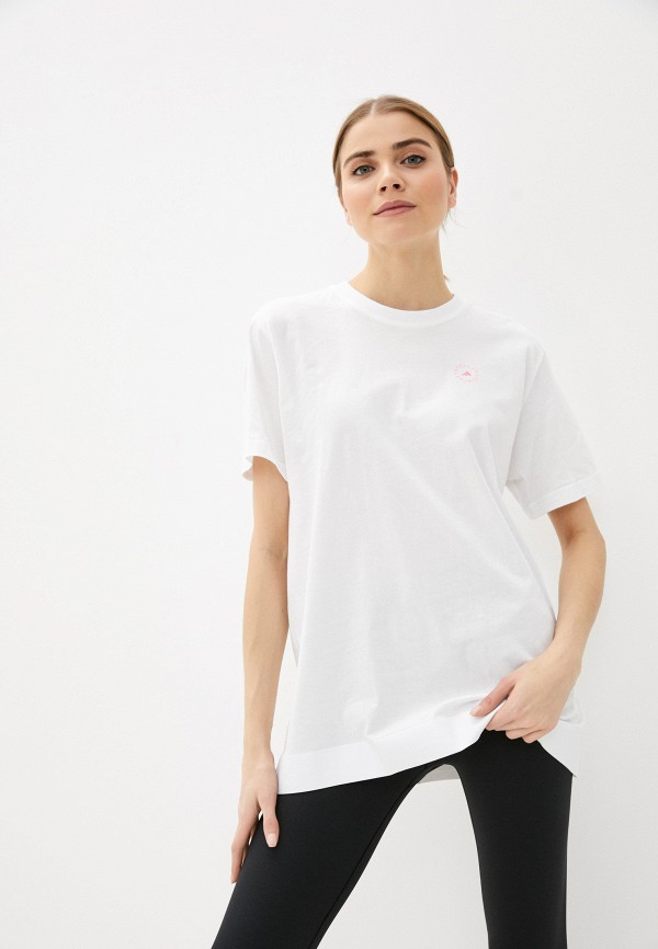 женская спортивные футболка adidas by stella mccartney, белая