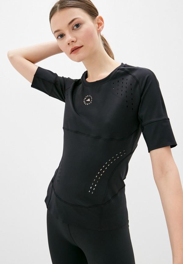 женская спортивные футболка adidas by stella mccartney, черная