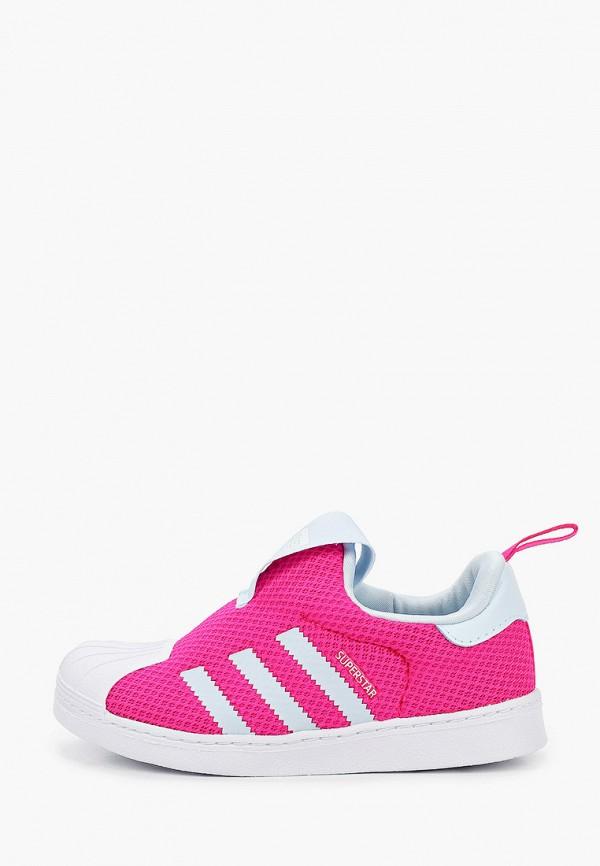 слипоны adidas для девочки, розовые