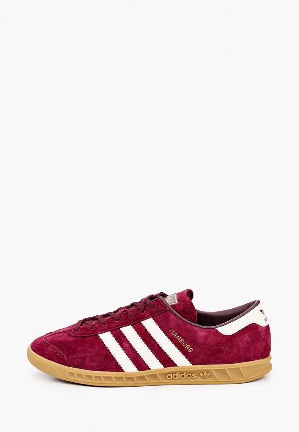 мужские кеды adidas, бордовые