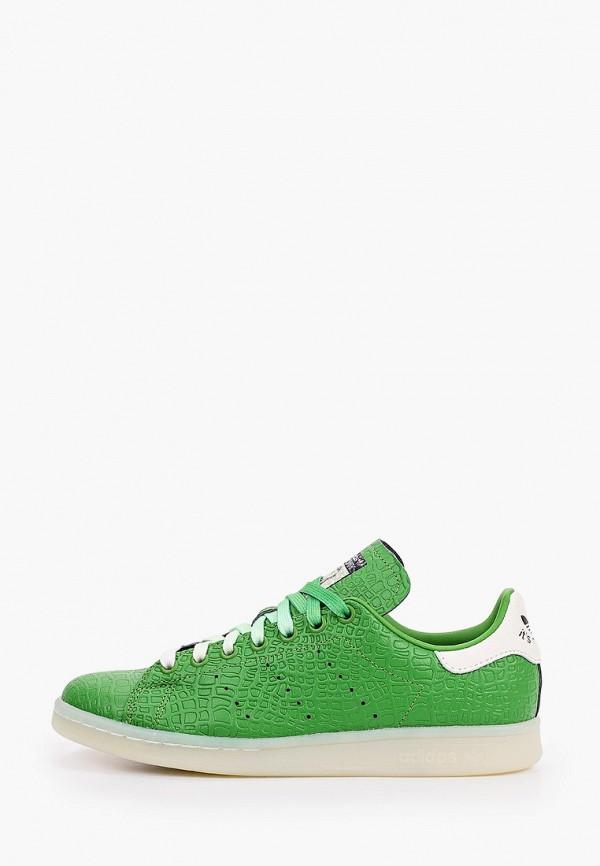 женские низкие кеды adidas, зеленые