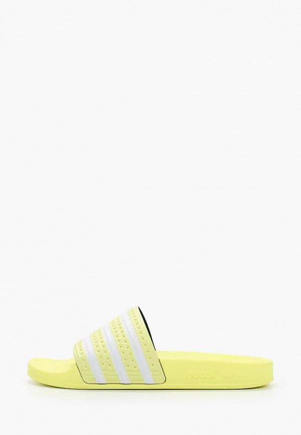 женские сланцы adidas, желтые