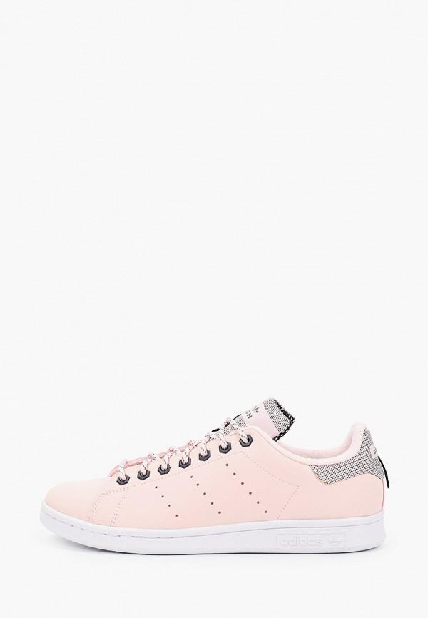 женские низкие кеды adidas, розовые