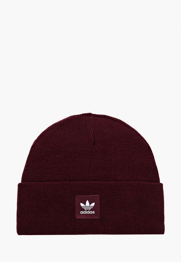 женская шапка adidas, бордовая