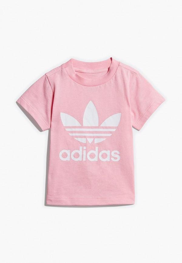 футболка adidas для девочки, розовая