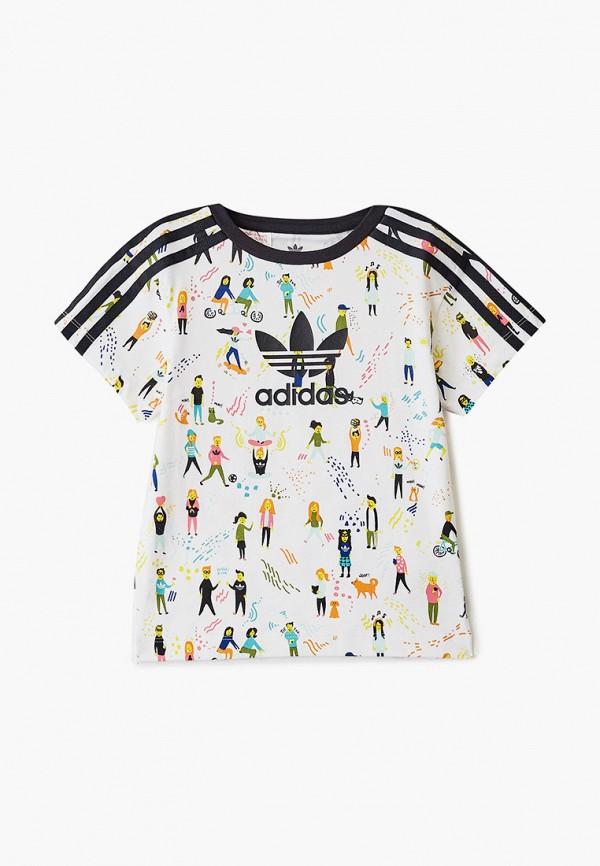 футболка с коротким рукавом adidas для девочки, разноцветная