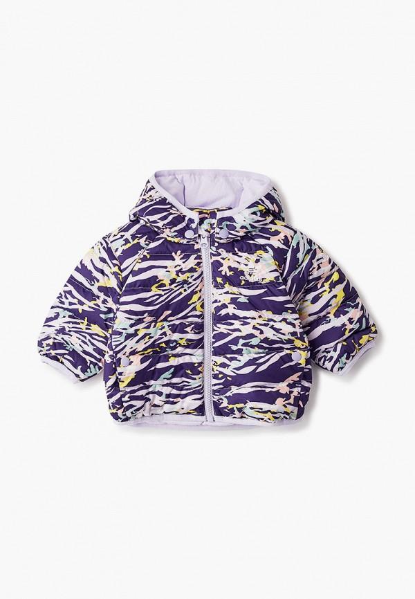 пуховик adidas для девочки, фиолетовый