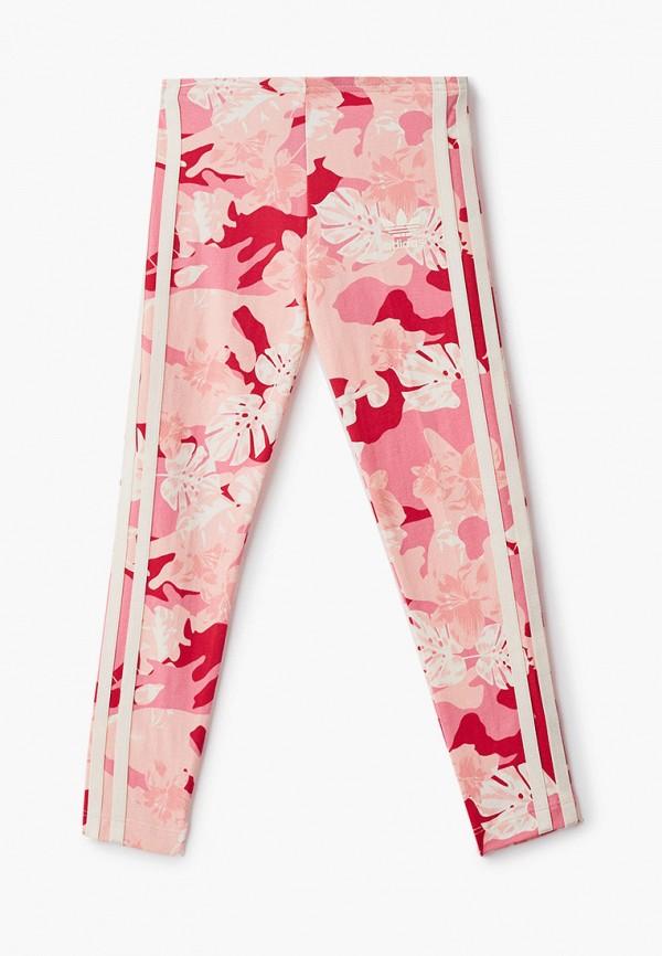леггинсы adidas для девочки, розовые