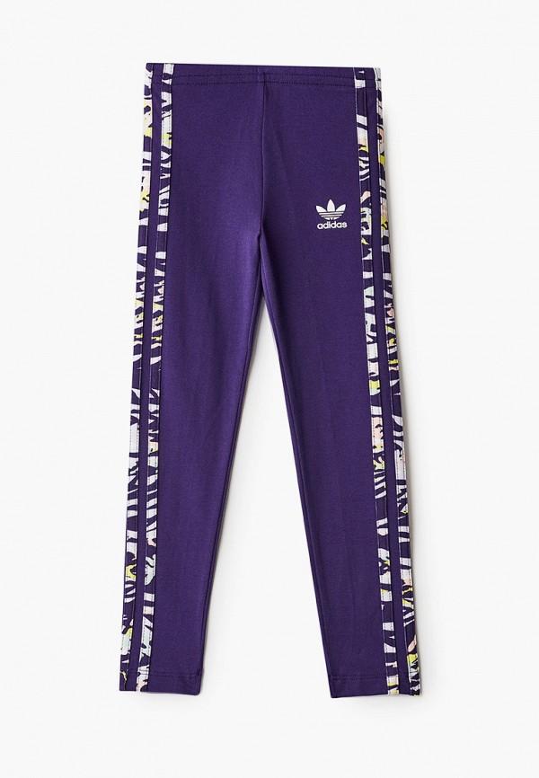 леггинсы adidas для девочки, фиолетовые