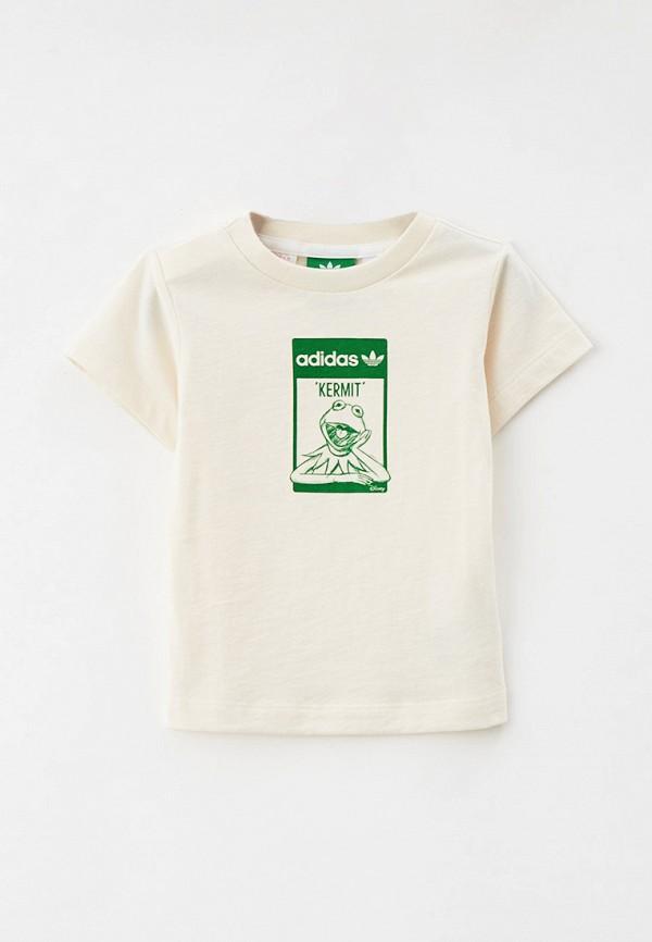 футболка с коротким рукавом adidas малыши, бежевая