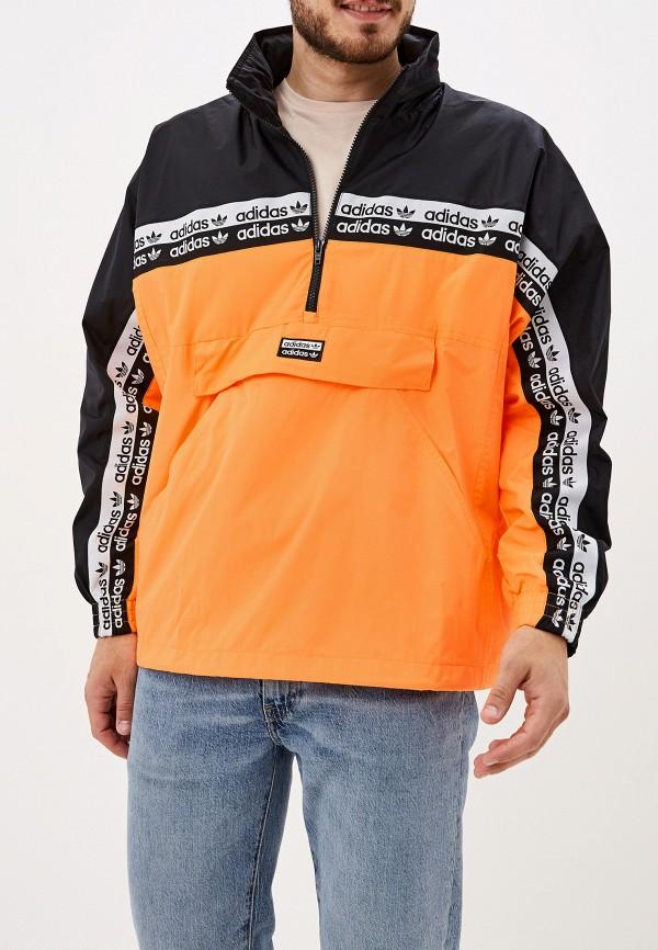 мужская ветровка adidas, оранжевая