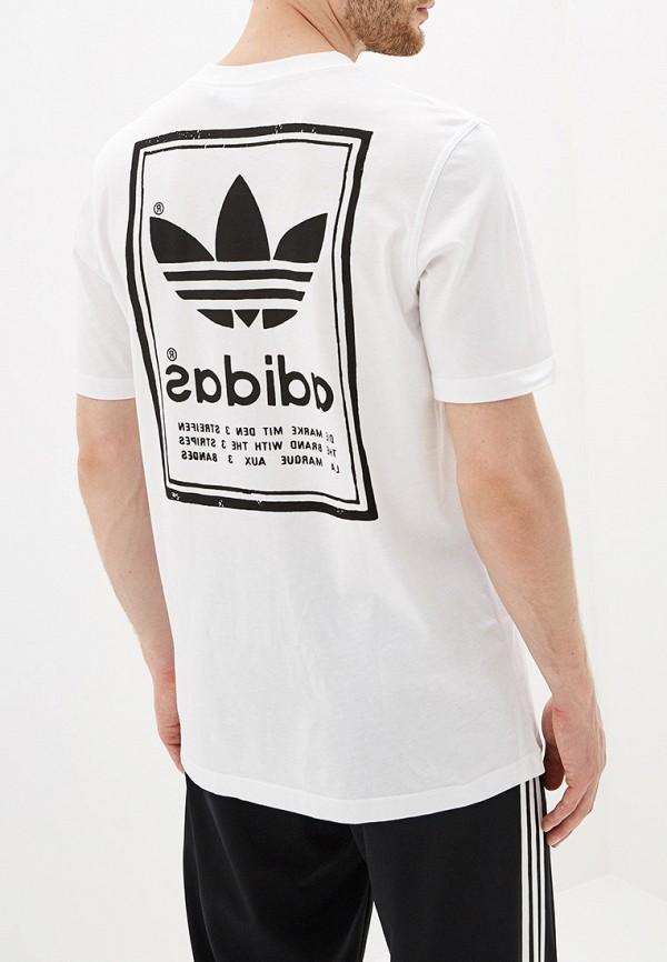 Фото 3 - мужскую футболку adidas Originals белого цвета
