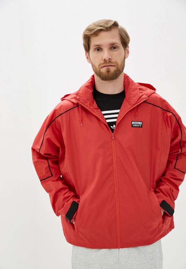 мужская ветровка adidas, красная