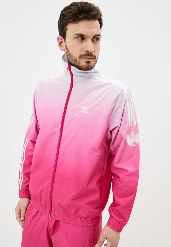 мужская ветровка adidas, розовая