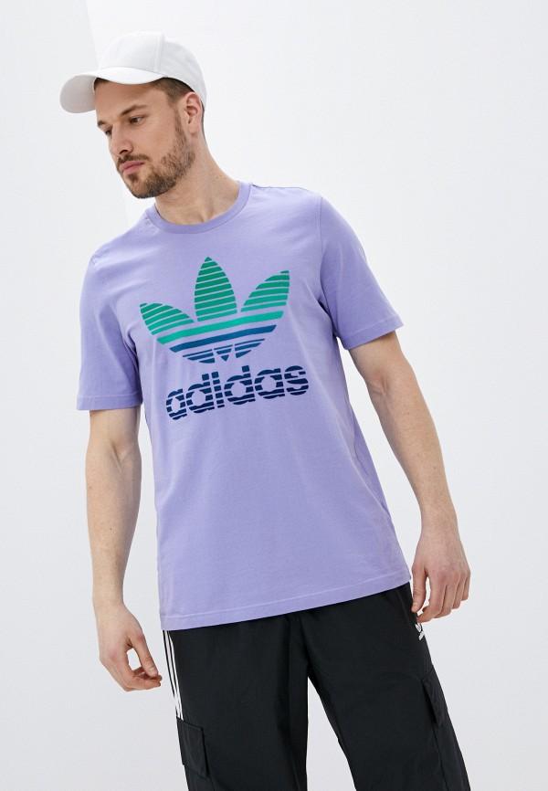 мужская футболка с коротким рукавом adidas, фиолетовая