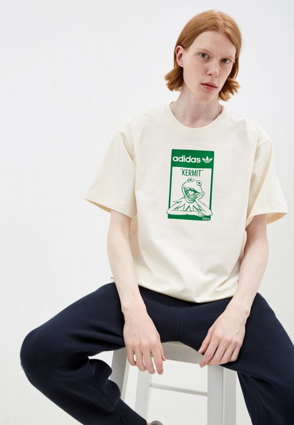 мужская футболка с коротким рукавом adidas, белая