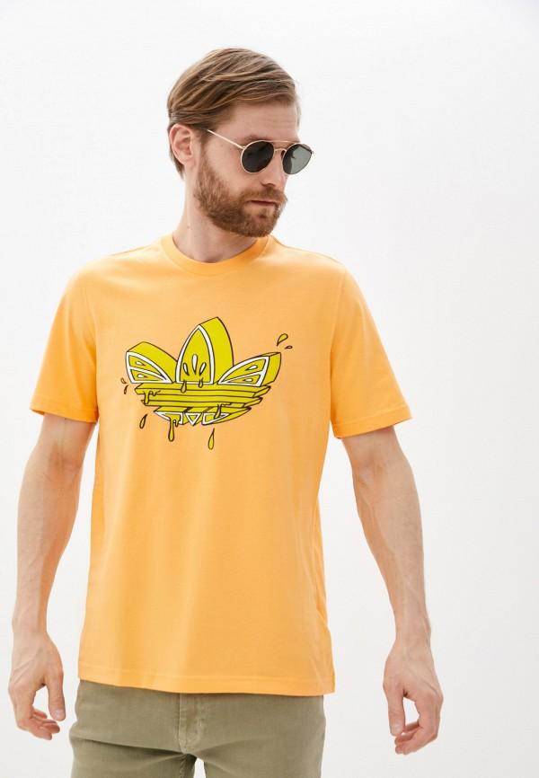 мужская футболка с коротким рукавом adidas, оранжевая