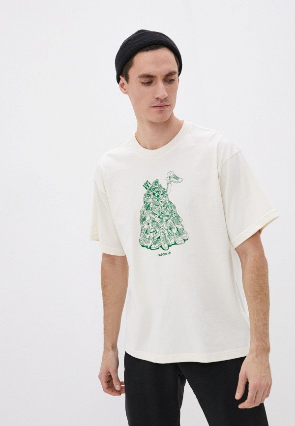 мужская футболка с коротким рукавом adidas, бежевая